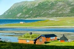 山的房子,在瑞典斯堪的那维亚北部欧洲 库存照片