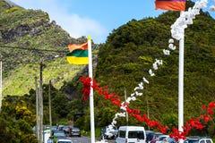 山的村庄在马德拉岛的海岛的北部 免版税库存照片