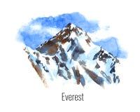 山的水彩例证 库存照片