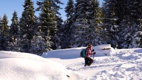 山的游人在冬天通过深雪做他们的方式 股票录像
