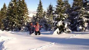 山的游人在冬天通过深雪做他们的方式 股票视频