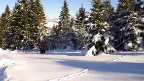 山的游人在冬天通过深雪做他们的方式 影视素材