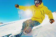 山的滑雪者 库存图片