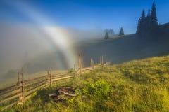 山的用花装饰的草甸在多云天空背景  免版税库存图片