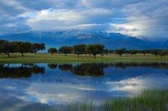 山的盐水湖 库存照片