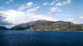 山的看法在天际的在克罗地亚海 免版税库存图片
