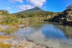 山的看法,火地群岛国家公园,乌斯怀亚,阿根廷 免版税库存照片