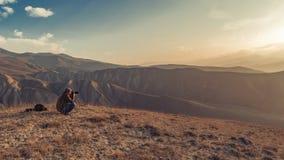 山的自然摄影师 库存图片
