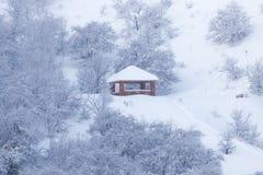 山的议院在冬天 库存图片