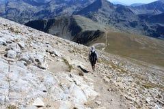 山的远足者 免版税库存照片