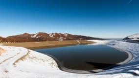 山的Winter湖 库存照片