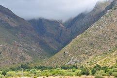 山看法在六角形的河谷 库存图片