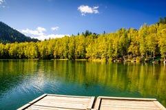 山秋天绿色有反射、木码头和桦树的西伯利亚湖 库存照片