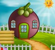 山竹果树房子在庭院里 向量例证