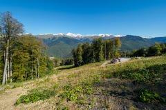 山绿色倾斜与多雪的山峰和电车的 库存照片