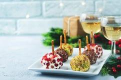 山羊乳干酪球开胃菜的变异用开心果, pomegra 免版税库存图片
