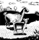 山羊和孩子 免版税库存图片