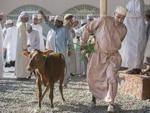 山羊和牛拍卖在尼兹瓦 免版税库存照片