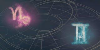 山羊座和双子星座占星标志兼容性 夜空Ab 免版税库存照片