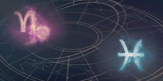 山羊座和双鱼座占星标志兼容性 夜空Ab 免版税库存图片