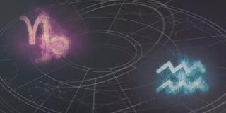 山羊座和宝瓶星座占星标志兼容性 抽象例证闪电夜空 库存照片