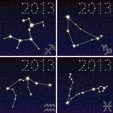 山羊座,宝瓶星座,人马座,双鱼座2 库存图片