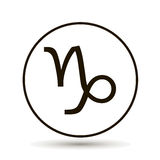 山羊座黄道带标志 在圈子的占星术标志象 库存图片