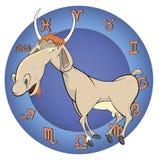 山羊的年 中国占星动画片 库存照片
