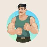 山肌肉,俄国士兵,伞兵 免版税图库摄影