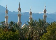 山背景的尖塔回教清真寺  库存图片