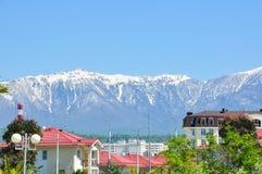 山背景的议院在索契爱德乐区  库存照片