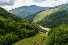 山脉用之间一条风雨如磐的河流动树和灌木的密集的丛林报道在 免版税库存照片
