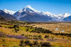山脉美好的风景视图和MtCook锐化,新西兰 免版税图库摄影