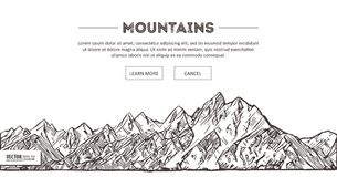 山脉 自然剪影 尖刻的山风景剪影手图画,在板刻蚀刻样式,极端的 免版税库存图片