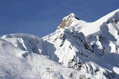 山腰滑雪跟踪 库存图片
