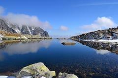 山自然蓝天绿色公园木头覆盖好湖的反射 免版税库存图片