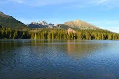 山自然蓝天绿色公园木头覆盖好湖的反射 免版税图库摄影