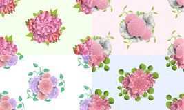 山茶花花纹花样集合,动画片样式 库存例证