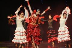 山茶花西班牙佛拉明柯舞曲这奥地利的世界舞蹈的夫人 免版税库存照片