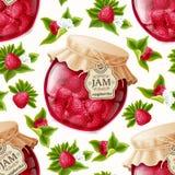 山莓果酱无缝的样式 免版税图库摄影
