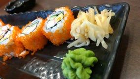 山葵和姜与寿司日本人菜单 免版税库存图片