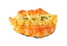 山葵天麸罗在箔的虾小圆面包在白色 库存图片