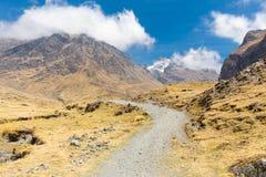山行迹谷土坎图, El Choro玻利维亚 免版税库存图片