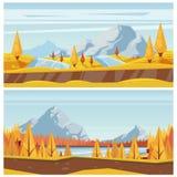 山行迹,秋天风景背景 导航路、小山、黄色草甸和河的秋季例证 皇族释放例证