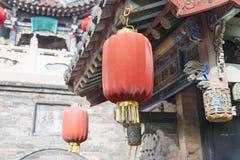 山西,中国- 2015年9月05日:在王家大院的灯笼 库存照片