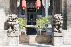山西,中国- 2015年9月05日:在王家大院的雕象 图库摄影