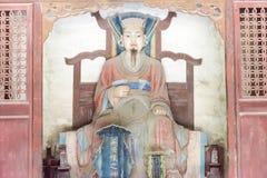 山西,中国- 2015年9月13日:在窦达福Ances的窦周雕象 库存图片