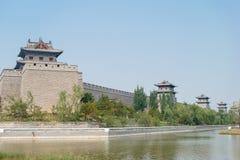 山西,中国- 2015年9月21日:大同市墙壁 著名Histor 库存图片