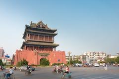 山西,中国- 2015年9月01日:Lnfen打鼓塔 著名Histor 库存照片