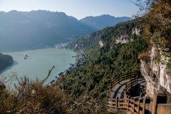 山走廊的夷陵长江三峡Dengying峡谷 免版税库存图片